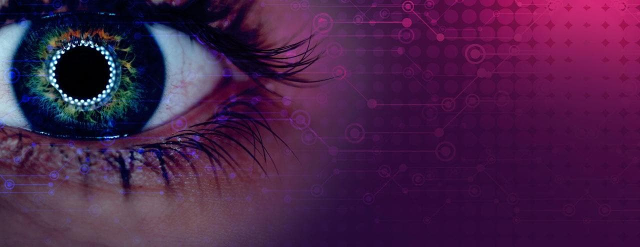 Cyber eye ina pink and purple background