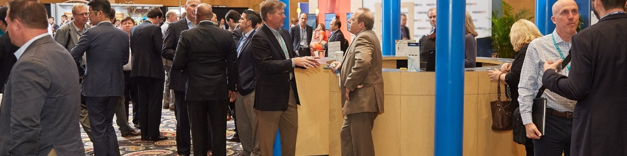 Conference attendees at exhibit hall