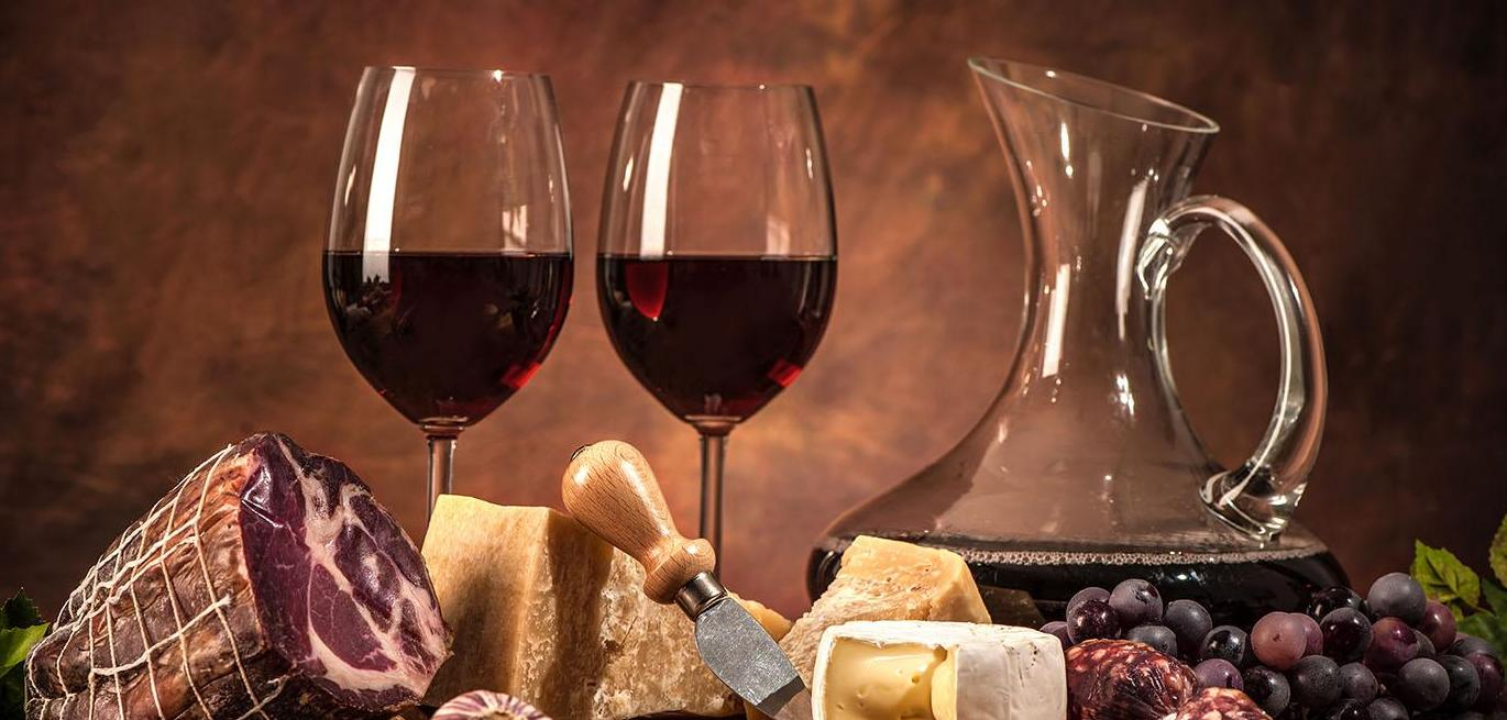 Cheese, wine, meat, grapes, vintage