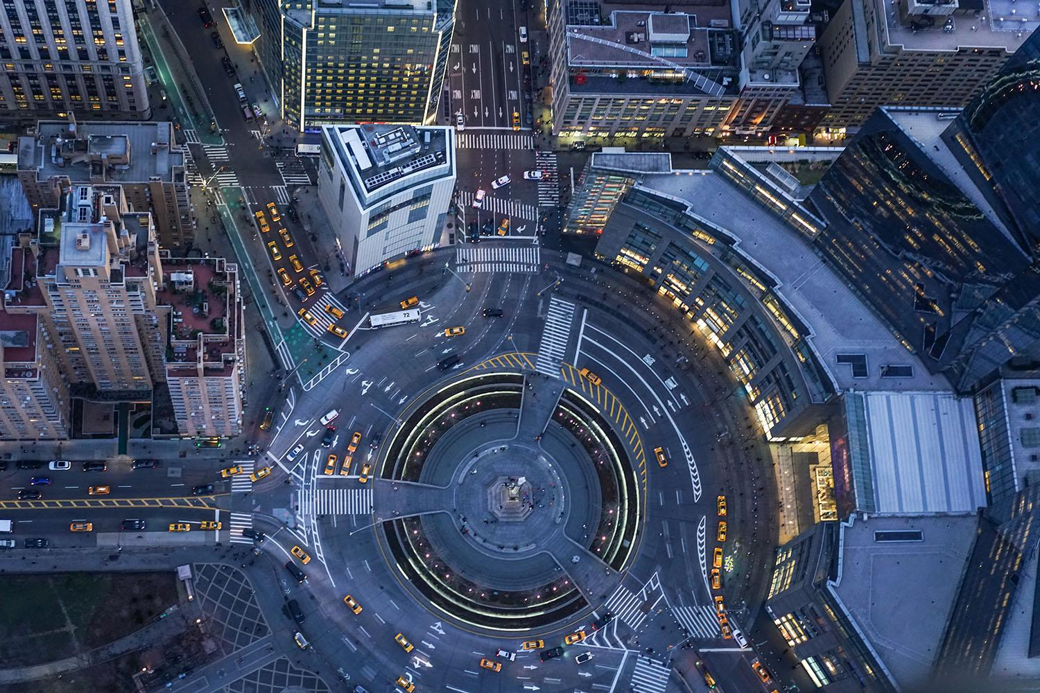Aerial view of a city roundabout at night