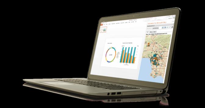 Se muestra SAS Office Analytics en una laptop