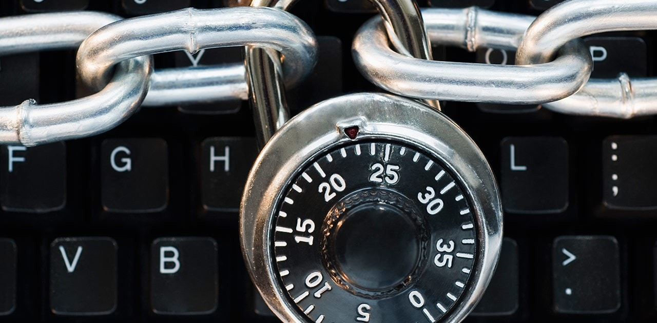 cyber security combo lock, chain, and keyboard