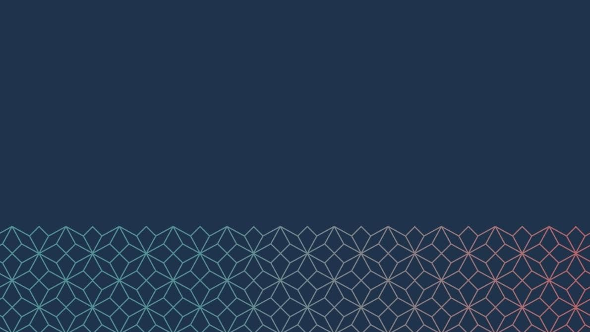 Teal and red gradient origami pattern on dark blue background