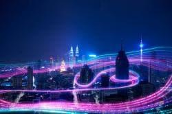 Smart city big data connection technology concept .