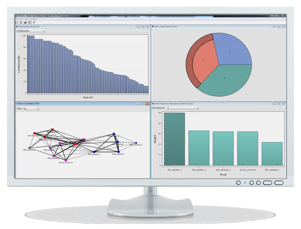 Captura de pantalla SAS Enterprise Miner que muestra análisis de vínculos
