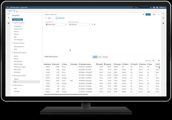 SAS Visual Analytics showing self-service data preparation on desktop monitor