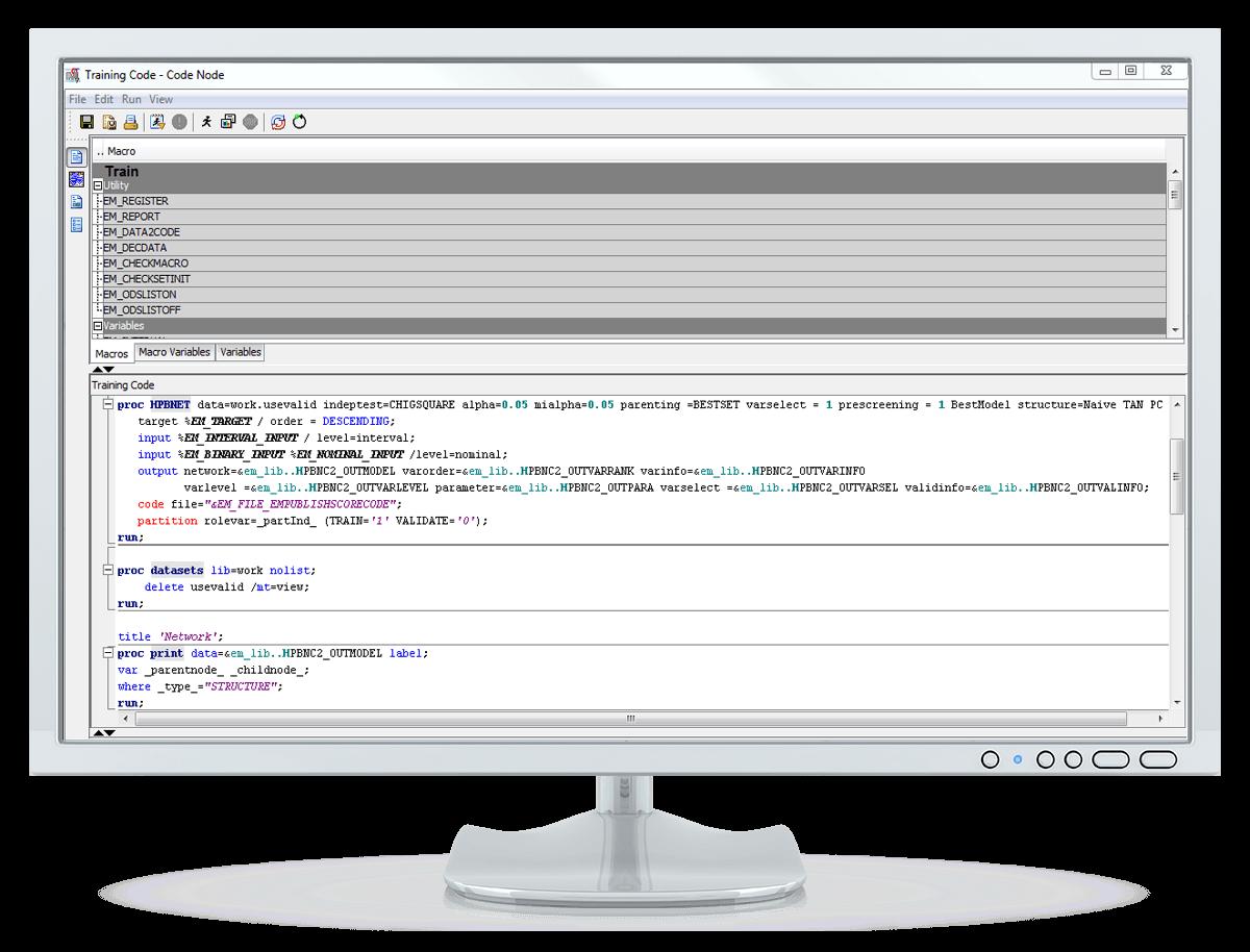 Captura de pantalla de SAS Enterprise Miner que muestra un nodo de código