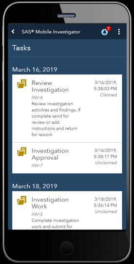 SAS Mobile Investigator showing tasks list on smartphone