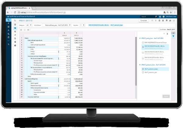 SAS Solution for IFRS 17 showing IFRS 17 worksheet on desktop monitor