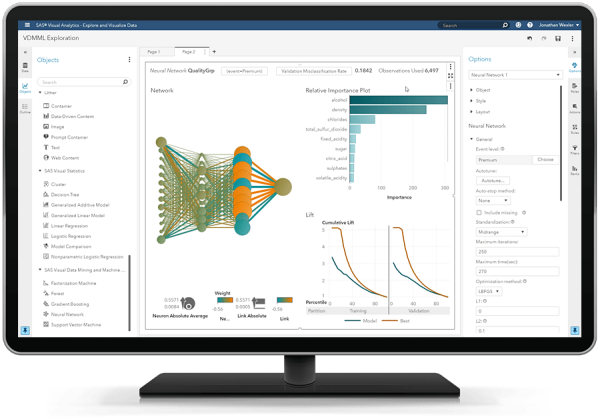 SAS Unified Insights MM showing interactive neural network on desktop monitor