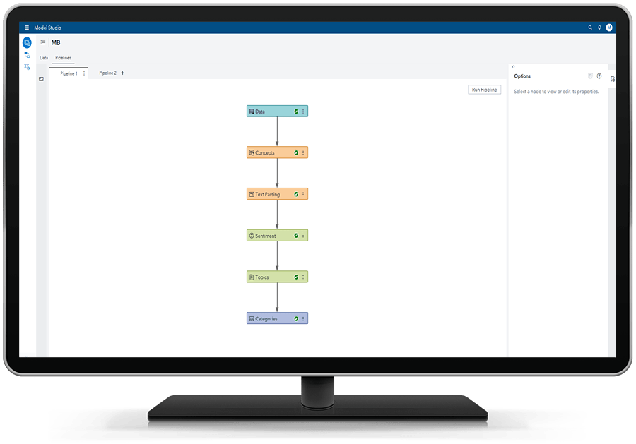 SAS Visual Text Analytics showing pipelines on desktop monitor