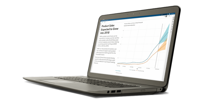 Se muestra SAS Visual Analytics en una laptop