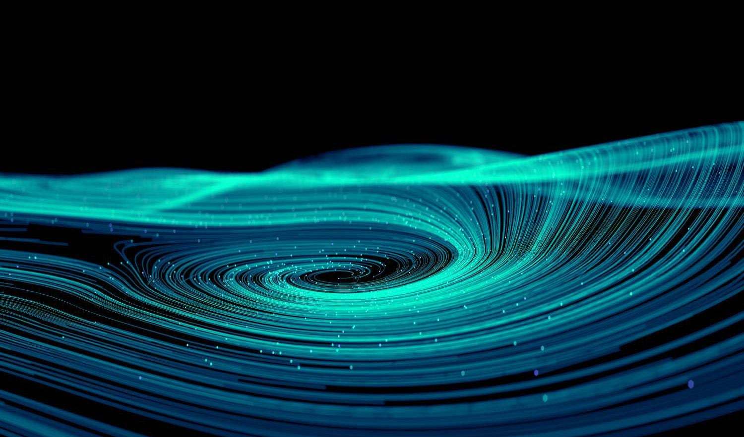 Blue and green swirl abstract artwork
