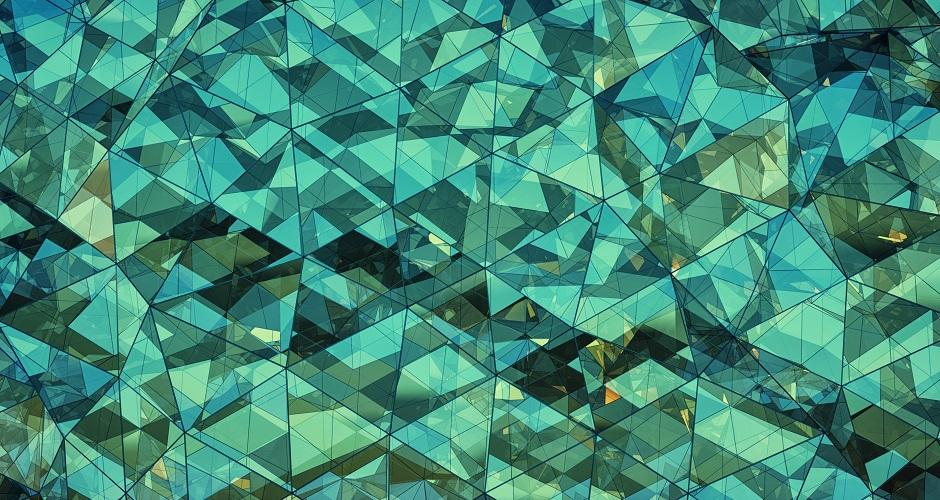 Triangle Glass Windows, Blue and green