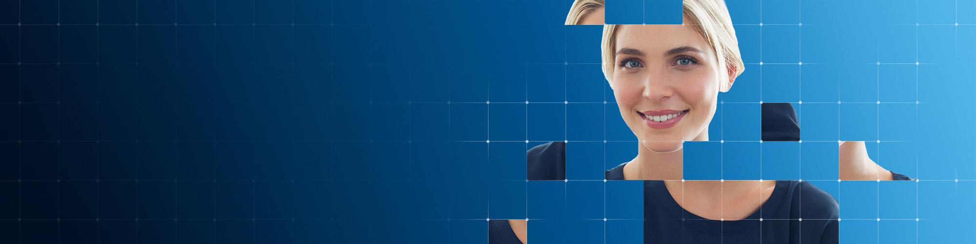 Young woman puzzle pieces/connected dots effect on blue background