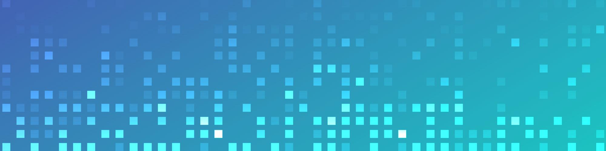 Square pattern on violet to teal gradient