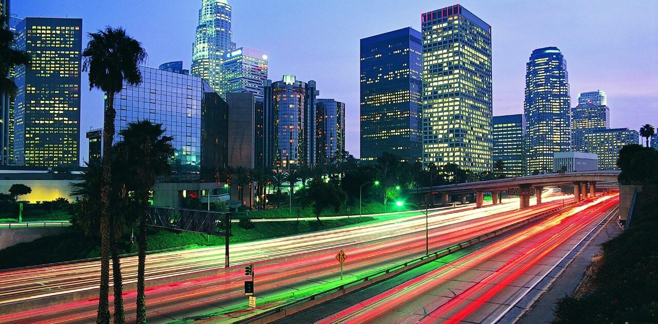 Steaks of light streaming across smart city