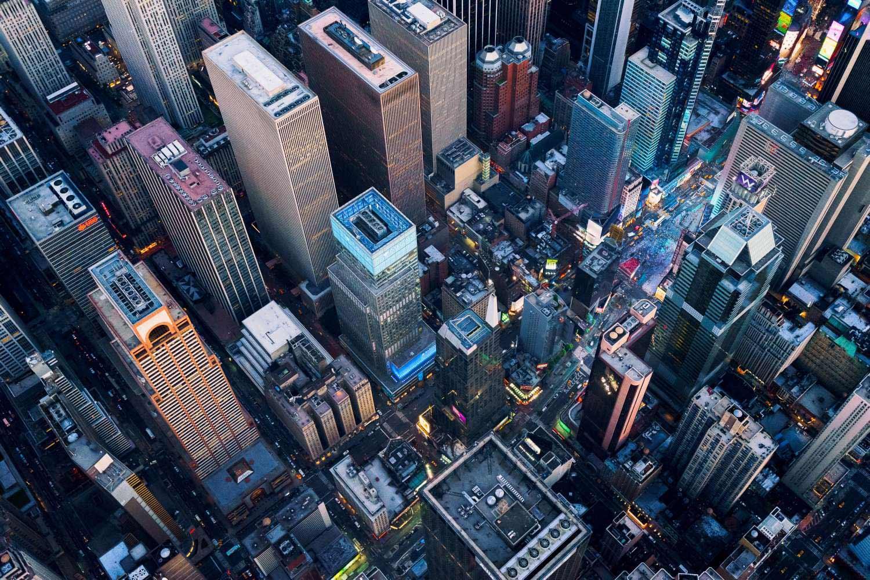 New York cityscape overhead shot