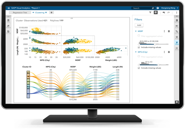 SAS Analytics for IoT muestra una matriz de agrupación en clúster en el monitor de una PC de escritorio