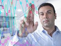 businessman using interactive screen