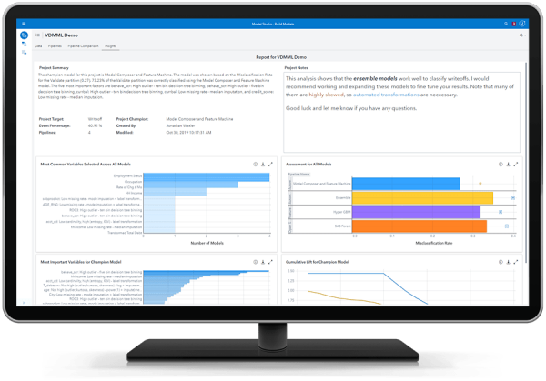 SAS Visual Data Mining and Machine Learning showing automated insights with natural language generation on desktop monitor