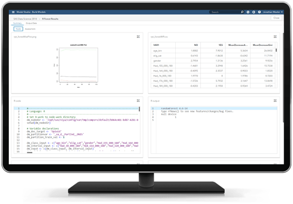SAS Visual Data Mining and Machine Learning showing open source node on desktop monitor