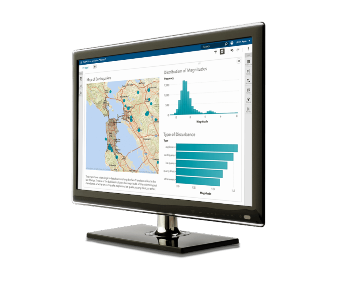 Se muestra SAS Visual Analytics en el monitor de una PC de escritorio