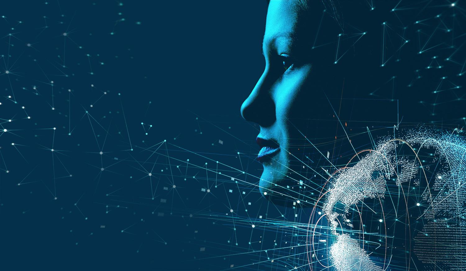 Midnight background with woman's profile and stylized globe