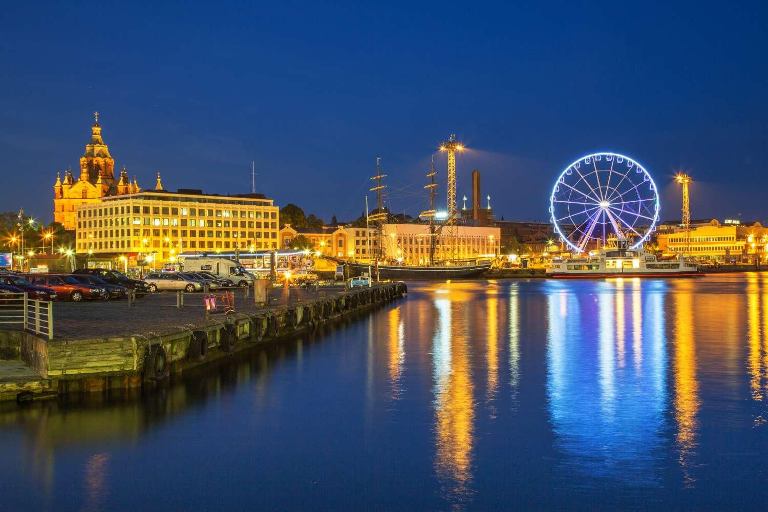Helsinki harbor at night