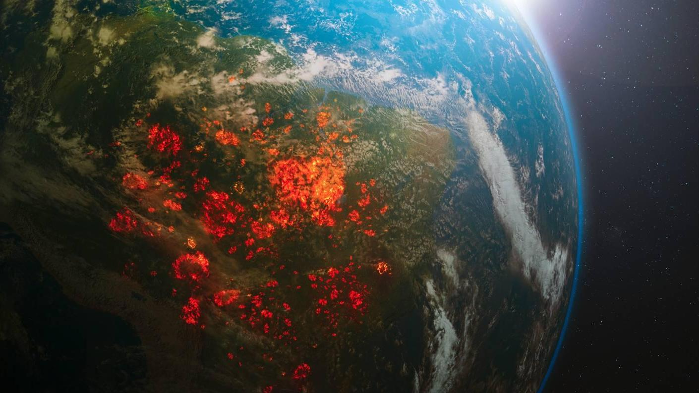 Amazon rainforest fires from space