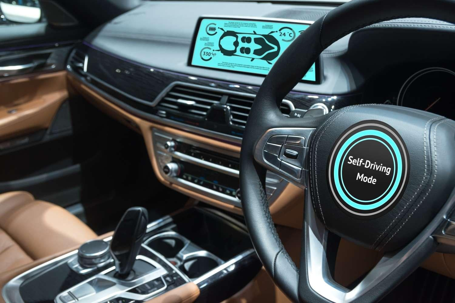 Smart car with empty driver's seat in self-driving mode
