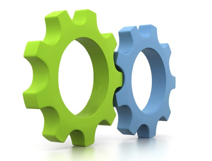 blue and green cogs