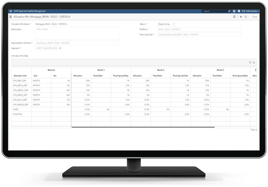 SAS Asset and Liability Management screenshot showing allocation report