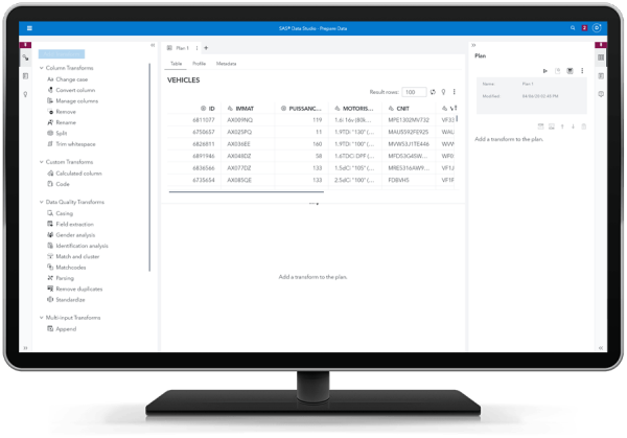 SAS Data Management showing data preparation on desktop monitor