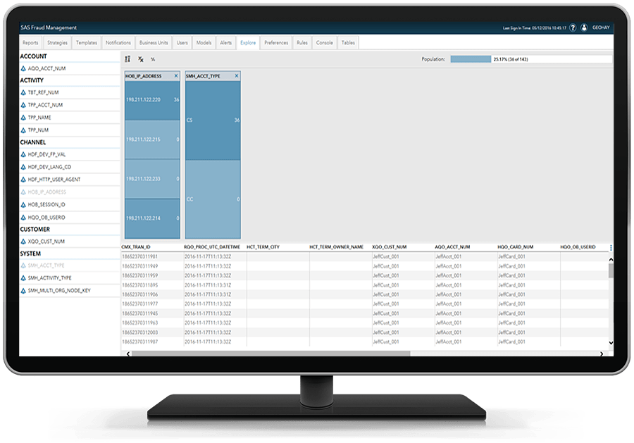 SAS Fraud Management showing risk based decisions on desktop monitor