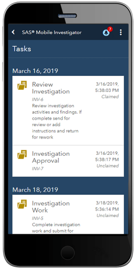 SAS Mobile Investigator showing tasks list on smartphone