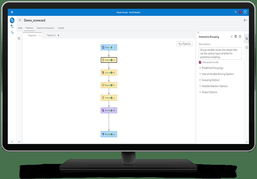 SAS Risk Modeling showing end-to-end support for scorecard development on desktop monitor
