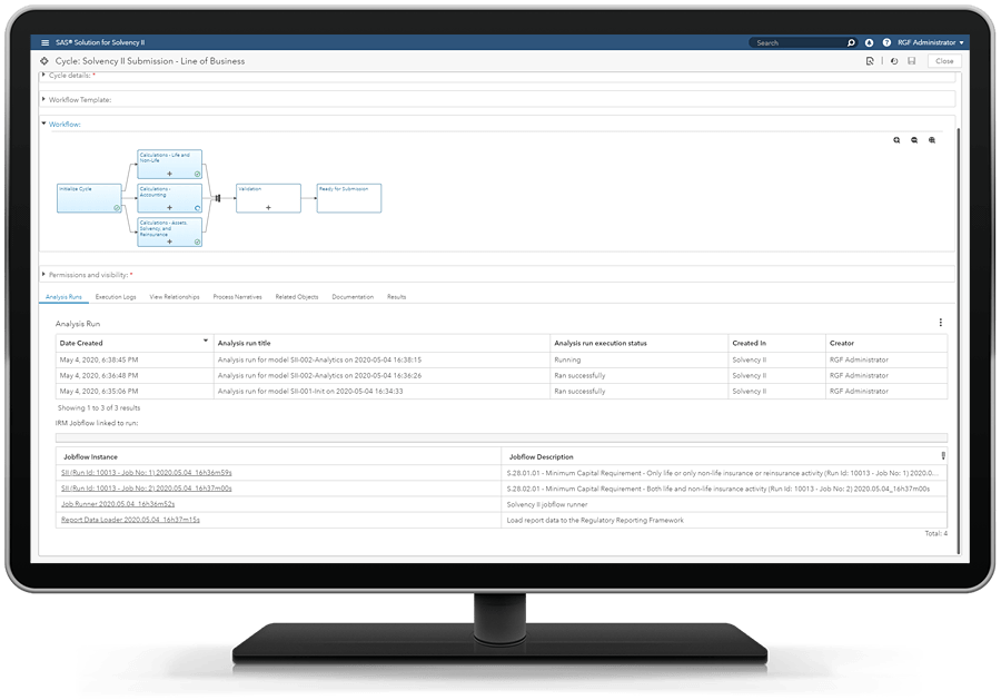 SAS Solution for Solvency II showing calculations on desktop monitor