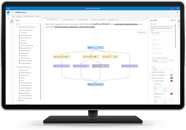 SAS Visual Data Mining and Machine Learning showing pipeline for automated feature engineering on desktop monitor