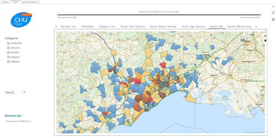 Capture d'écran : Carte des PCR positives par IRIS - CHU de Montpellier