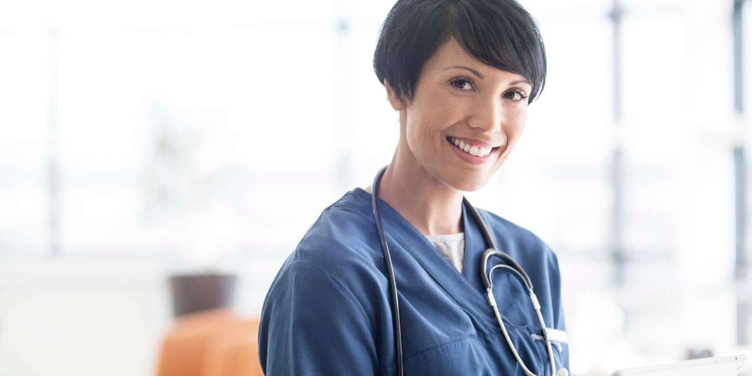 woman in blue scrubs