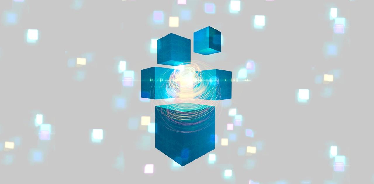 Glowing Cubes -  Quantum mechanics, artwork