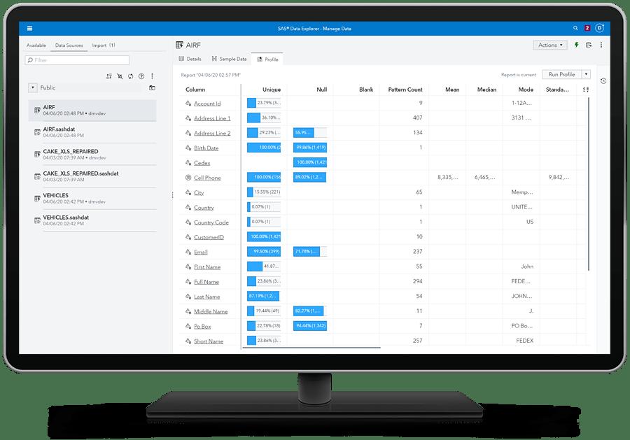 Computer monitor showing SAS Data Management - manage data