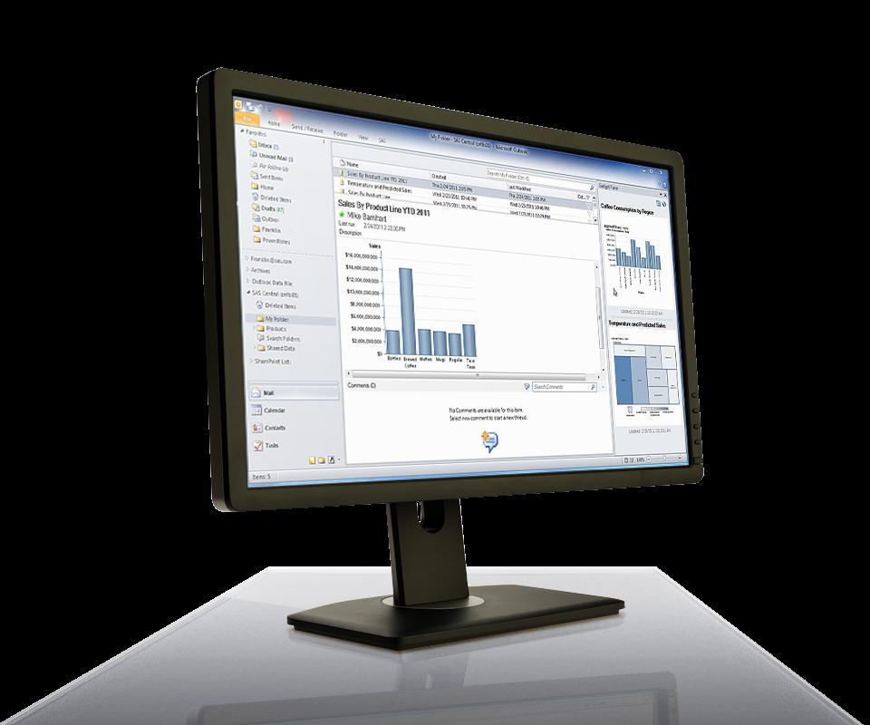 SAS Office Analytics for Midsize Business shown on desktop monitor