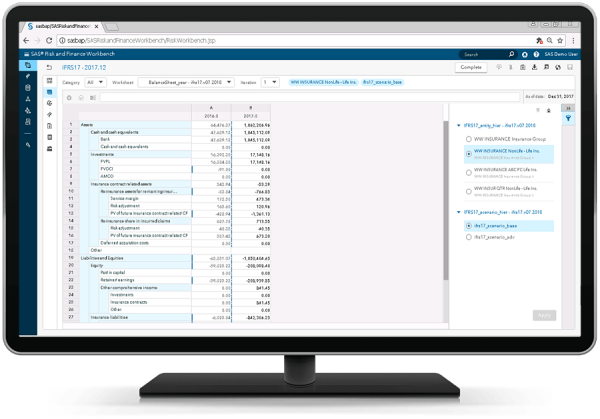 SAS Solution for IFRS 17 showing IFRS 17 worksheet on desktop monitor