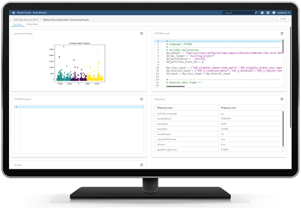 SAS Unified Insights MM showing Python open source node on desktop monitor