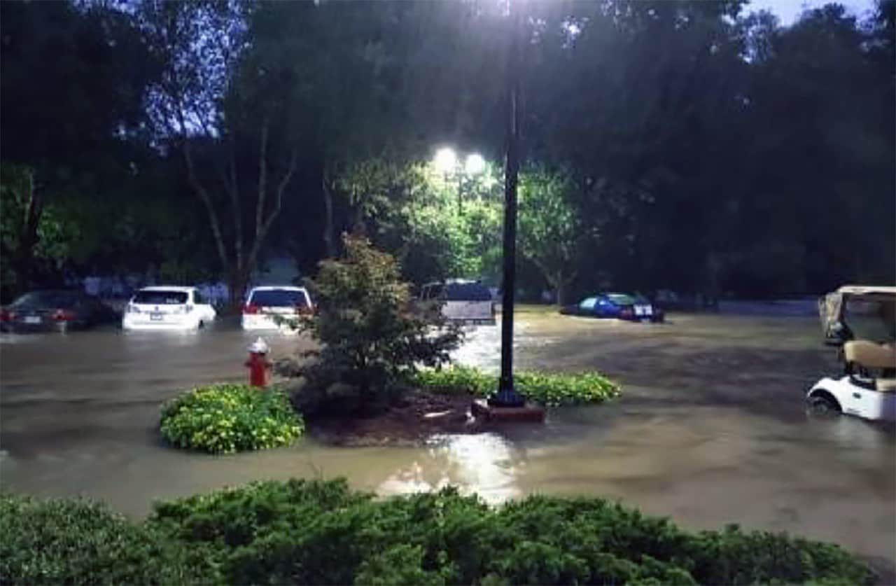 Town of Cary parking lot during flood