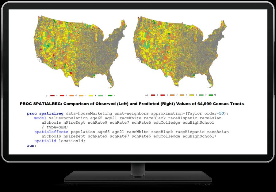 SAS/ETS software showing spatial regression on desktop monitor.