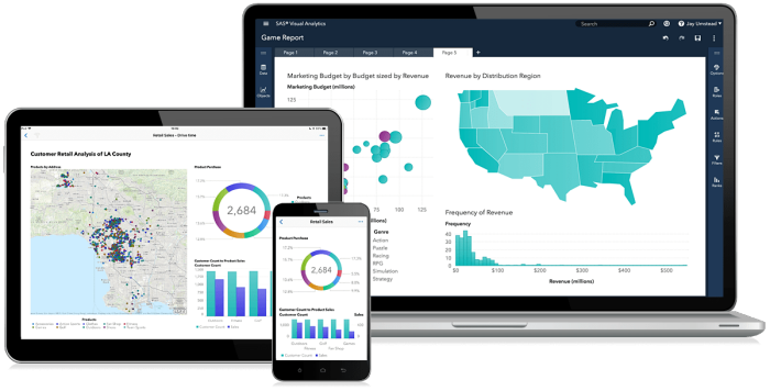 SAS® Visual Analytics 8.2  - cluster on various devices