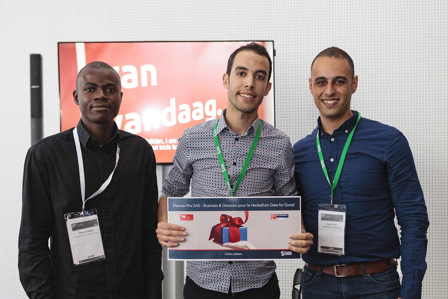 Group photo of three male winners from SAS Hackathon event - 1st Place